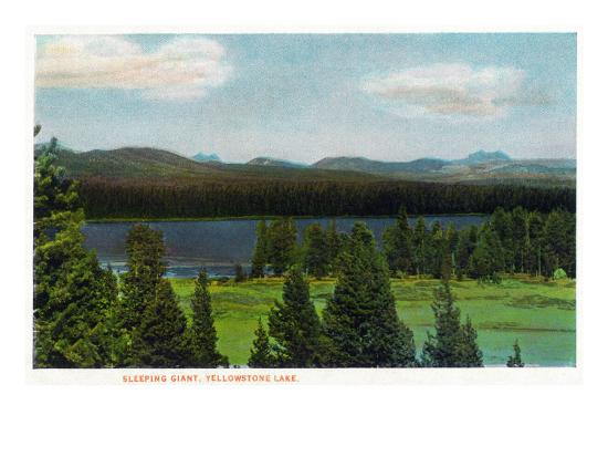 Yellowstone Nat'l Park, Wyoming - Sleeping Giant Scene-Lantern Press-Art Print