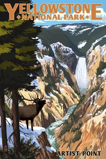 Yellowstone National Park - Artist Point and Elk-Lantern Press-Art Print