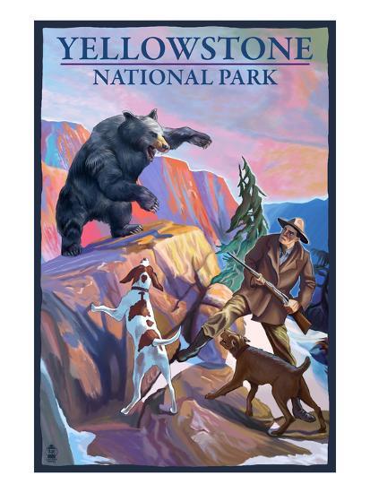 Yellowstone National Park - Bear Hunting Scene-Lantern Press-Art Print