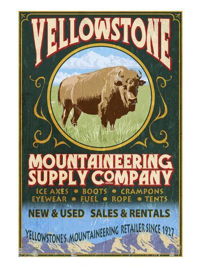 Yellowstone National Park - Bison Mountaineering-Lantern Press-Art Print