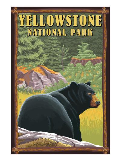 Yellowstone National Park - Black Bear in Forest-Lantern Press-Art Print