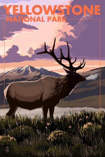 Yellowstone National Park - Elk and Sunset-Lantern Press-Art Print
