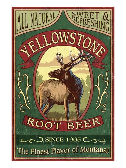 Yellowstone National Park - Elk Root Beer-Lantern Press-Art Print