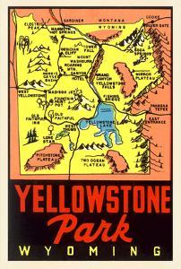 Yellowstone National Park Map, Montana