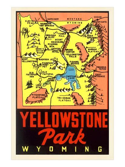 Yellowstone National Park Map, Montana--Art Print