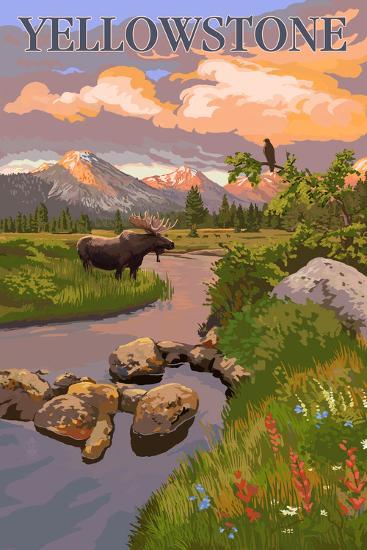 Yellowstone National Park - Moose and Meadow Scene-Lantern Press-Art Print