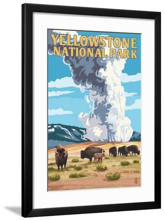 Yellowstone National Park Old Faithful Geyser And Bison Herd Art Print By Lantern Press Art Com