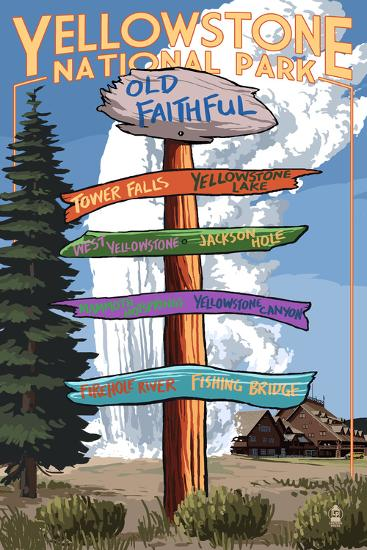 Yellowstone National Park - Signpost-Lantern Press-Art Print