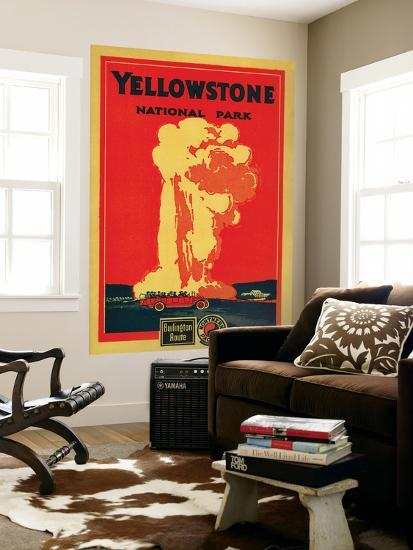 Yellowstone, Old Faithful Advertising Poster - Yellowstone National Park-Lantern Press-Wall Mural