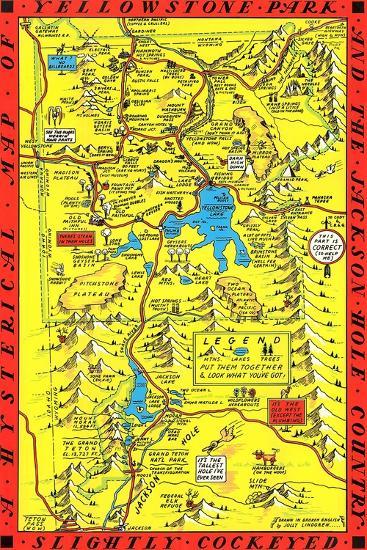 Yellowstone Park Map--Art Print