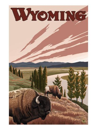 Yellowstone River Bison, Yellowstone National Park, Wyoming-Lantern Press-Art Print