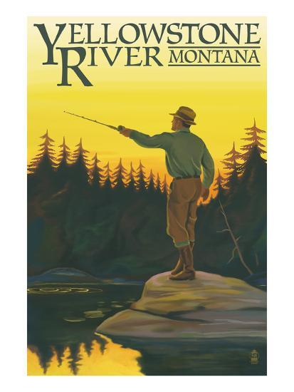 Yellowstone River, Montana - Fly Fishing Scene-Lantern Press-Art Print