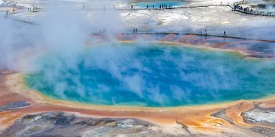 Yellowstone, Wyoming: an Overhead View of the Grand Prismatic Geyser-Brad Beck-Photographic Print