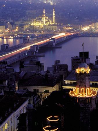 Yeni Mosque and the Galata Bridge, Istanbul, Turkey-Ali Kabas-Photographic Print