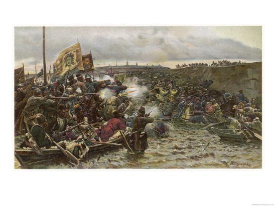 Yermak Timofeyevich Leads a Cossack Invasion of Siberia--Giclee Print
