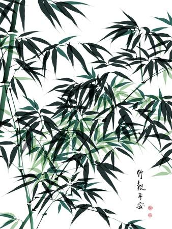 Bamboo Ink Painting. Translation: Wellbeing