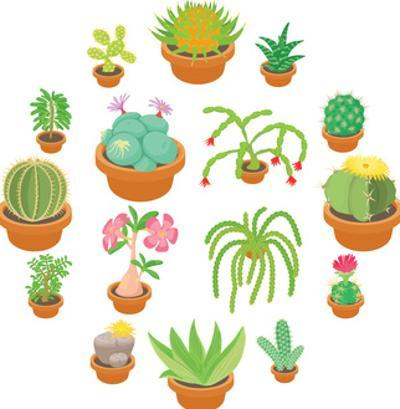 Green Cactuses Icons Set. Cartoon Illustration of 16 Green Cactuses Vector Icons for Web by Ylivdesign