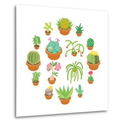 Green Cactuses Icons Set. Cartoon Illustration of 16 Green Cactuses Vector Icons for Web