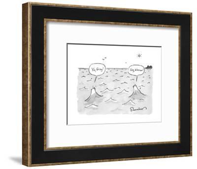"""Yo, Greg!"" ""Hey, Warren!"" - New Yorker Cartoon-Danny Shanahan-Framed Premium Giclee Print"