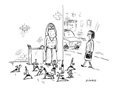 Yoga guru stands on street corner selling little wind-up toys. - New Yorker Cartoon-David Sipress-Premium Giclee Print