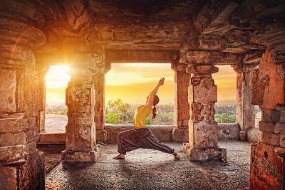 Yoga in Hampi Temple-Marina Pissarova-Photographic Print