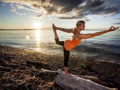 Yoga Position: Dance Pose on the Beach of Lincoln Park - West Seattle, Washington-Dan Holz-Photographic Print