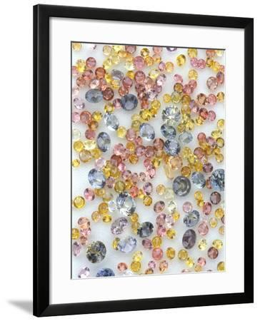 Yogo Sapphires on White--Framed Photographic Print