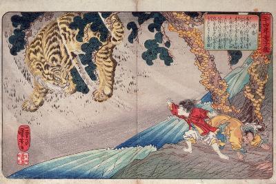 Yoko and the Tiger, from 'Twenty-Four Paragons of Filial Piety' ('Nijushi Ko Doji Kagami'), Pub.?-Kuniyoshi Utagawa-Giclee Print