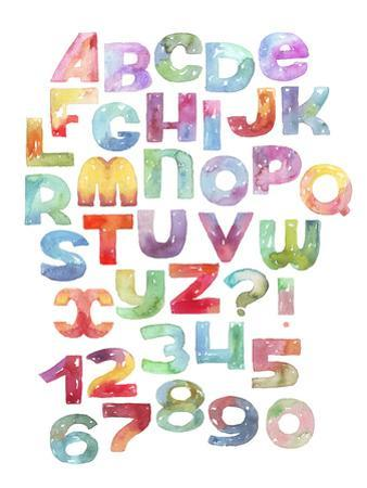 Watercolor Letters and Numbers Sequence, Gradient Alphabet by yokunen