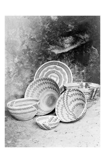 Yokuts Baskets-Edward S^ Curtis-Giclee Print