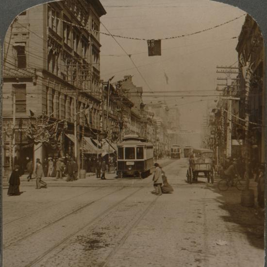 'Yonge St., looking north from King St., the busy center of Toronto, Canada', 1904-Unknown-Photographic Print