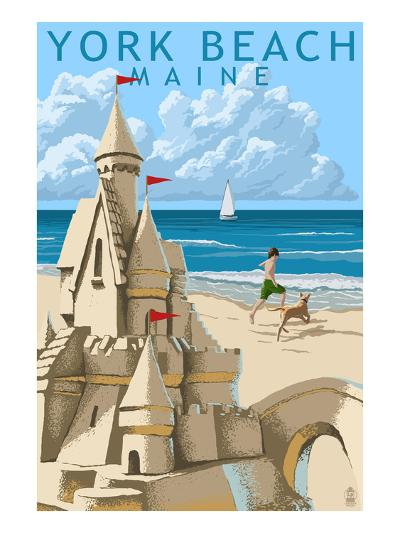 York Beach, Maine - Sand Castle-Lantern Press-Art Print