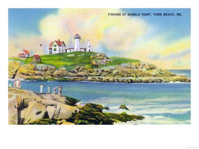 York, Maine - Fishing Scene at Nubble Point on York Beach-Lantern Press-Art Print