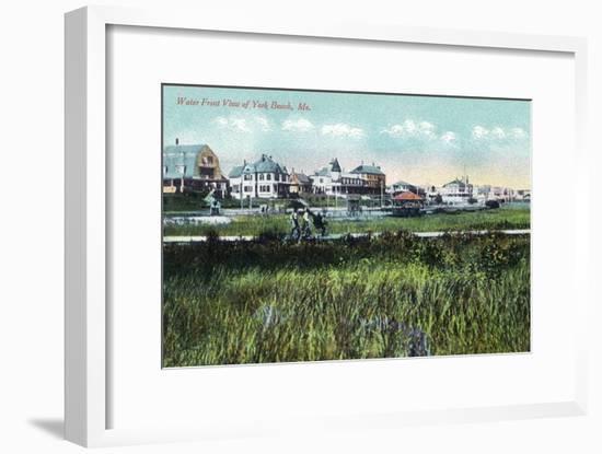 York, Maine, Waterfront View of York Beach-Lantern Press-Framed Art Print