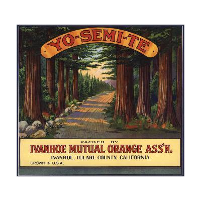 Yosemite Brand - Ivanhoe, California - Citrus Crate Label-Lantern Press-Art Print