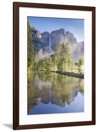 Yosemite Falls reflected in the Merced River at dawn, Yosemite National Park, California, USA. Spri-Adam Burton-Framed Photographic Print