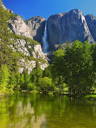 Yosemite Falls With The Merced River-George Oze-Photographic Print