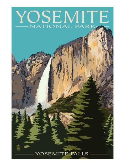 Yosemite Falls - Yosemite National Park, California-Lantern Press-Premium Giclee Print