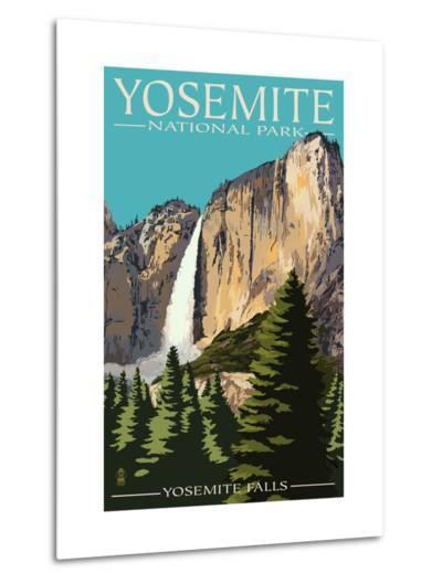 Yosemite Falls - Yosemite National Park, California-Lantern Press-Metal Print