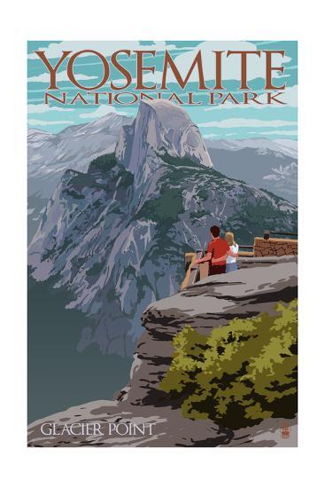 Yosemite National Park, California - Glacier Point and Half Dome-Lantern Press-Art Print