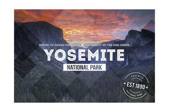 Yosemite National Park, California - Valley at Sunset Rubber Stamp-Lantern Press-Art Print