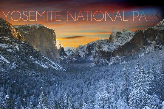 Yosemite National Park, California - Valley in Winter-Lantern Press-Wall Mural