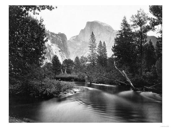 Yosemite National Park, Valley Floor and Half Dome Photograph - Yosemite, CA-Lantern Press-Art Print