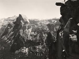A Small Figure Contrasts Against Yosemite Valley and Half Dome by Yosemite Park and Amp Curry Co