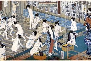 Quarreling and Scuffling in a Women's Bathhouse, Japan by Yoshiiku