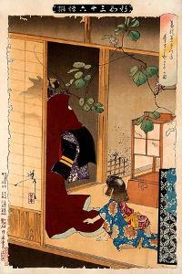 Fox Woman Leaving Her Child, Thirty-Six Transformations by Yoshitoshi Tsukioka