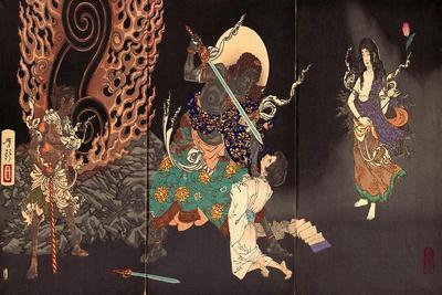 Fudô Threatening Yuten with His Sword
