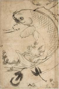 Jumping Carp Sumi Underdrawing on Paper by Yoshitoshi Tsukioka