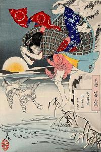 Moon of Pure Snow at Asano River, One Hundred Aspects of the Moon by Yoshitoshi Tsukioka