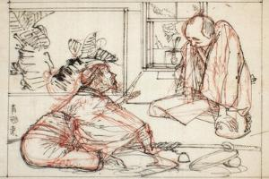 Sumi and Extensive Red Underdrawing on Paper by Yoshitoshi Tsukioka
